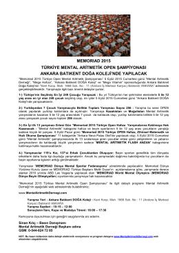 PDF Formatında - Mental Aritmetik Derneği