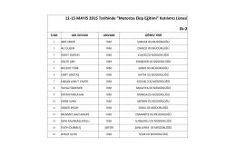"""11-15 MAYIS 2015 Tarihinde """"Motorize Ekip Eğitimi"""" Katılımcı Listesi"""
