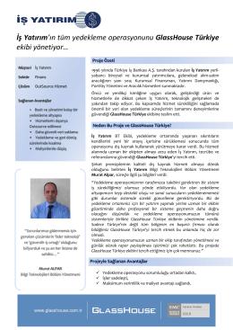 İş Yatırım`ın tüm yedekleme operasyonunu GlassHouse Türkiye