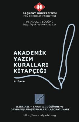 Akademik Yazım Kuralları Kitapçığı - Başkent Üniversitesi Psikoloji