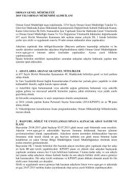 ORMAN GENEL MÜDÜRLÜĞÜ 2015 YILI ORMAN MÜHENDİSİ