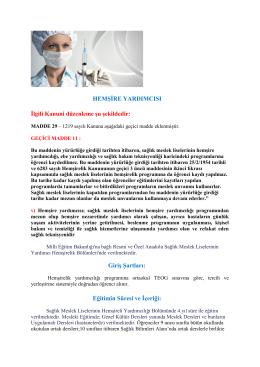 Hemşire Yardımcılığı - Meram Şifa Hatun Mesleki ve Teknik Anadolu