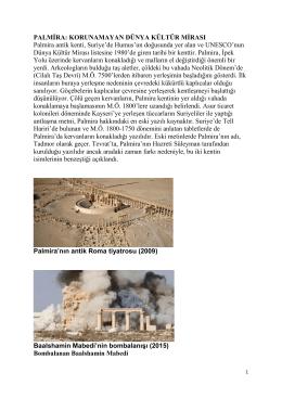 Palmira: Korunamayan Dünya Kültür Mirası