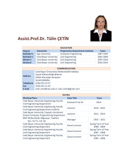 Assist.Prof.Dr. Tülin ÇETİN