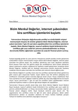 07.08.2015 / İnternet Şubesi Kira Sertifikaları İşlemleri Basın Bülteni