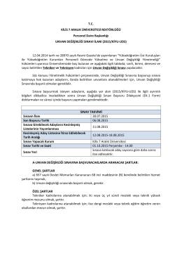 T.C. KİLİS 7 ARALIK ÜNİVERSİTESİ REKTÖRLÜĞÜ Personel Daire