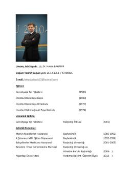 Doktor CV Formatı - Türk Radyoloji Derneği