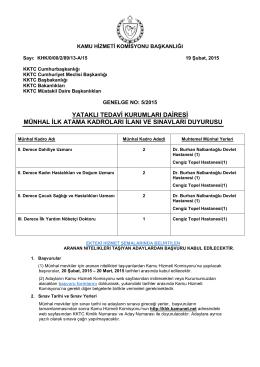 GENELGE 52015 DOKTORLAR - Kamu Hizmeti Komisyonu