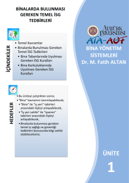 1 Bina Yönetim Sistemleri isgbolumu.com isg bolumu