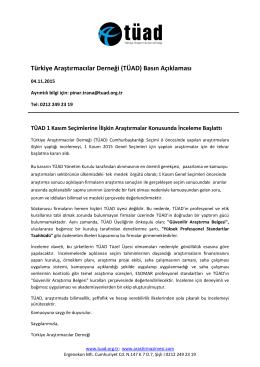 Türkiye Araştırmacılar Derneği (TÜAD) Basın Açıklaması