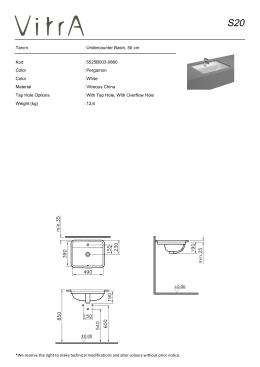 Tanım : Undercounter Basin, 50 cm Kod : 5525B003-0860