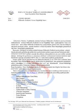 Şirketimiz Merkez Teşkilatında münhal bulunan Mühendis (Endüstri