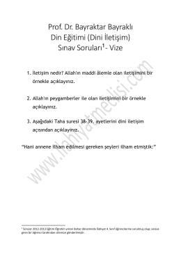 Prof. Dr. Bayraktar Bayraklı Din Eğitimi (Dini İletişim