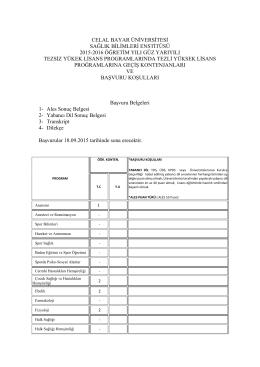 celal bayar üniversitesi sağlık bilimleri enstitüsü 2015