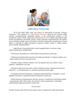 Sağlık Bakım Teknisyenliği - Meram Şifa Hatun Mesleki ve Teknik
