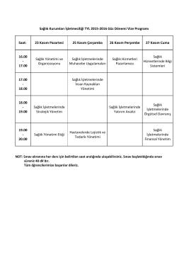 Sağlık Kurumları İşletmeciliği TYL 2015-2016 Güz