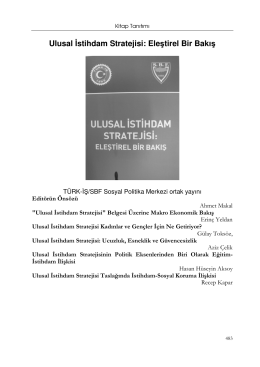 Ulusal İstihdam Stratejisi: Eleştirel Bir Bakış