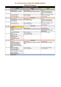 25. Ulusal Çocuk ve Ergen Ruh Sağlığı Kongresi Bilimsel Programı
