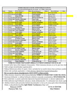 Mart ayı belletmen listesi - SINDIRGI