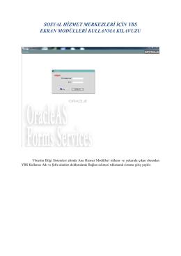 sosyal hizmet merkezleri için ybs ekran modülleri kullanma kılavuzu