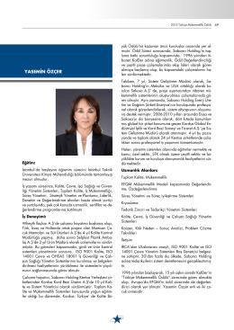 YASEMİN ÖZÇER - Türkiye Mükemmellik Ödülü Yürütme Kurulu
