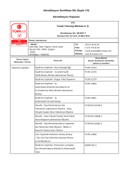 Akreditasyon Sertifikasι Eki (Sayfa 1/5) Akreditasyon Kapsamι