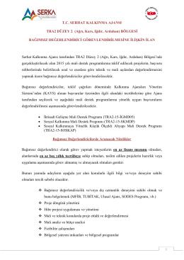 T.C. SERHAT KALKINMA AJANSI TRA2 DÜZEY 2 (Ağrı
