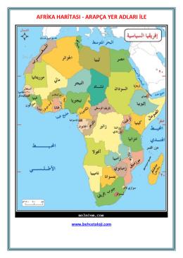 afrika haritası - arapça yer adları ile