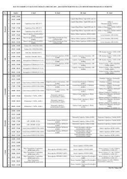 2015-2016 Güz Dönemi II. Öğretim Ders Programı