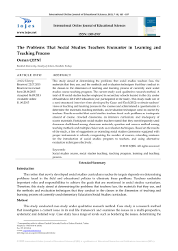 The Problems That Social Studies Teachers Encounter in Learning