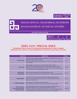 Cover Page - Kırgızistan Türkiye Manas Üniversitesi