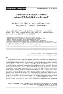 Kutanöz Leyşmanyazis Tanısında Alternatif Bifazik Nutrient Besiyeri*