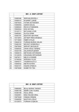 ıbh a-b sınıf listeleri