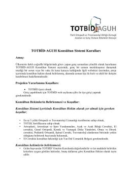 TOTBİD-AGUH Konsültan Sistemi Kuralları