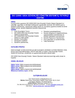 I 19011`e ISO 22000: GIDA GÜVENLİĞİ YÖNETİM SİSTEMİ İÇ
