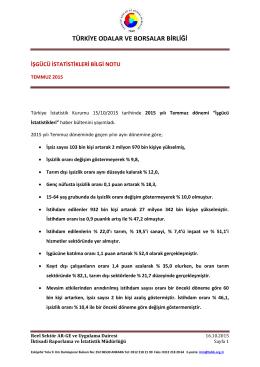2015 Yılı Temmuz Ayı İşgücü İstatistikleri B.N.