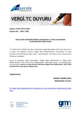 Duyuru Tarihi: 09.11.2015 Duyuru No : 2015 / 020