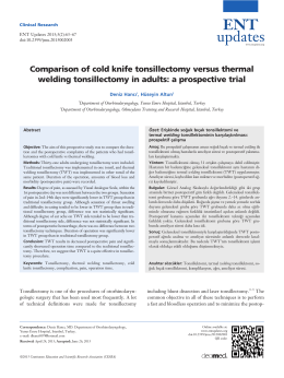 Comparison of cold knife tonsillectomy versus