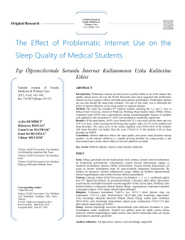 The Effect of Problematic Internet Use on the Sleep Quality of