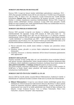HORIZON 2020 PROGRAMI DESTEKLERİ Horizon 2020, Avrupa