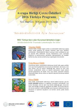 Avrupa Birliği Çevre Ödülleri 2016 Türkiye Programı