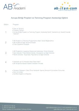 Avrupa Birliği Projeleri ve Twinning Program Asistanlığı Eğitimi