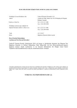 Turkcell Yönetim Kurulu, Şirketimizin 2016 yılı hesap ve işlemlerinin