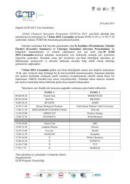 GCIP-Türkiye 2015 Yarı-Final Etkinlik Programı