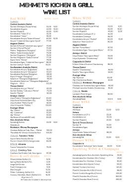 Mehmet`s Kitchen Wine List