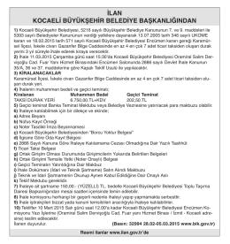 ilan kocaeli büyükşehir belediye başkanlığından