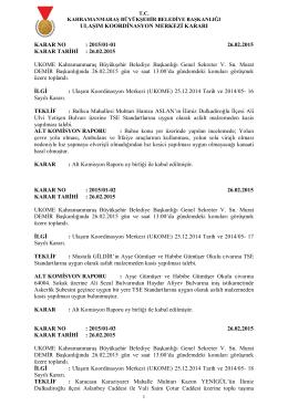 26.02.2015 Tarihli UKOME gündem ve kararları