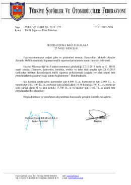 Trafik Sigortası Prim Tutarları Hk.