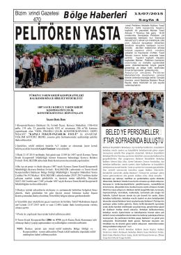 Bölge Haberleri 13/07/2015