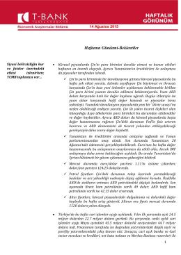 economıc agenda - Turkland Bank A.Ş.